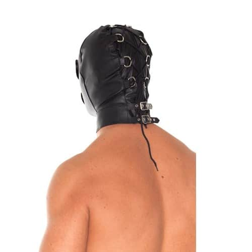 a man wearing Leather Full Face Mask With Detachable Blinkers - rear view