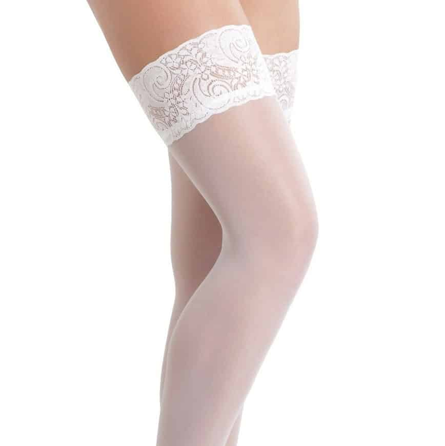 White Hold-Up Stockings With Floral Lace Top