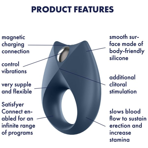 Satisfyer App Enabled Royal One Cock Ring Blue features