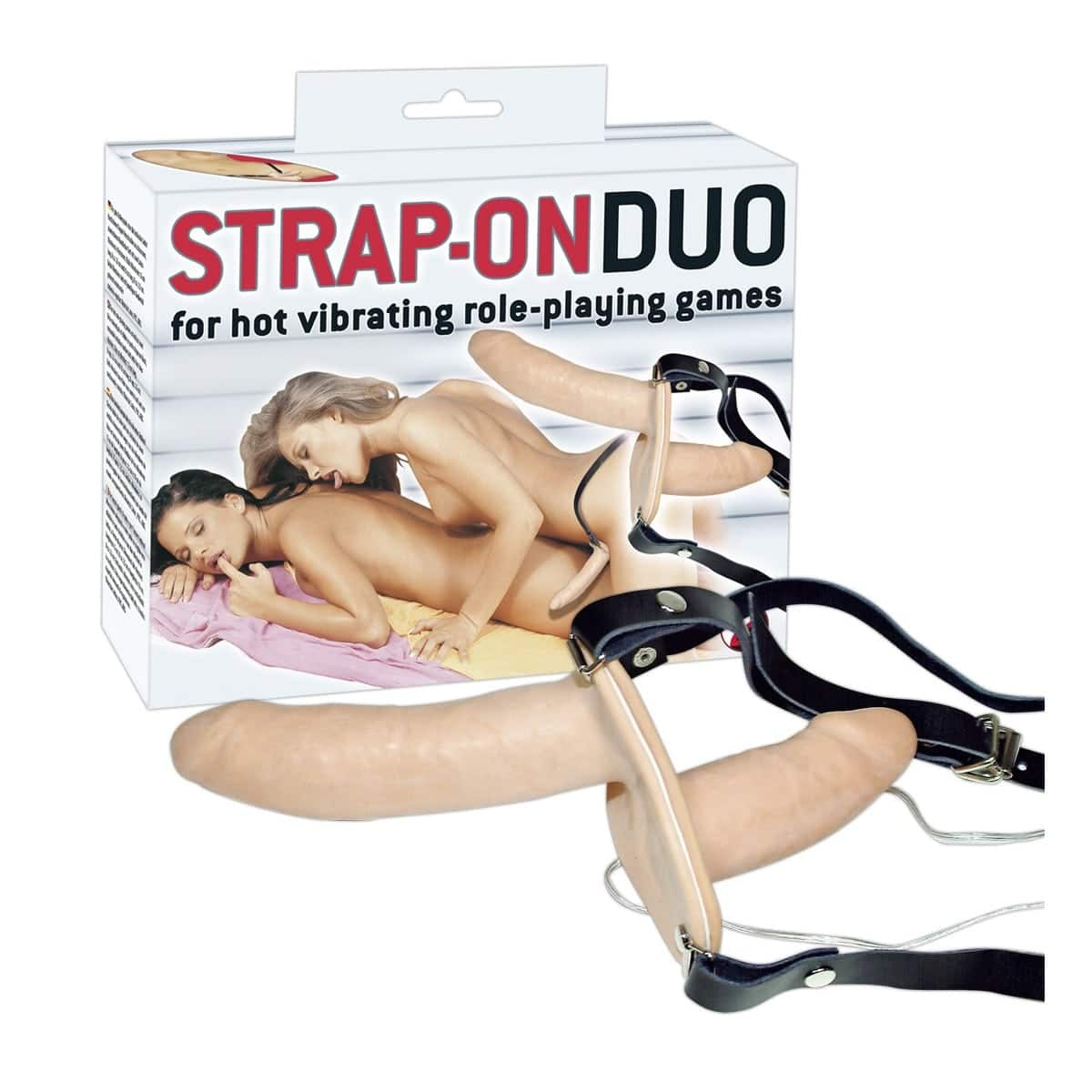 Vibrating Flesh Strap On Duo Vibrating Dongs
