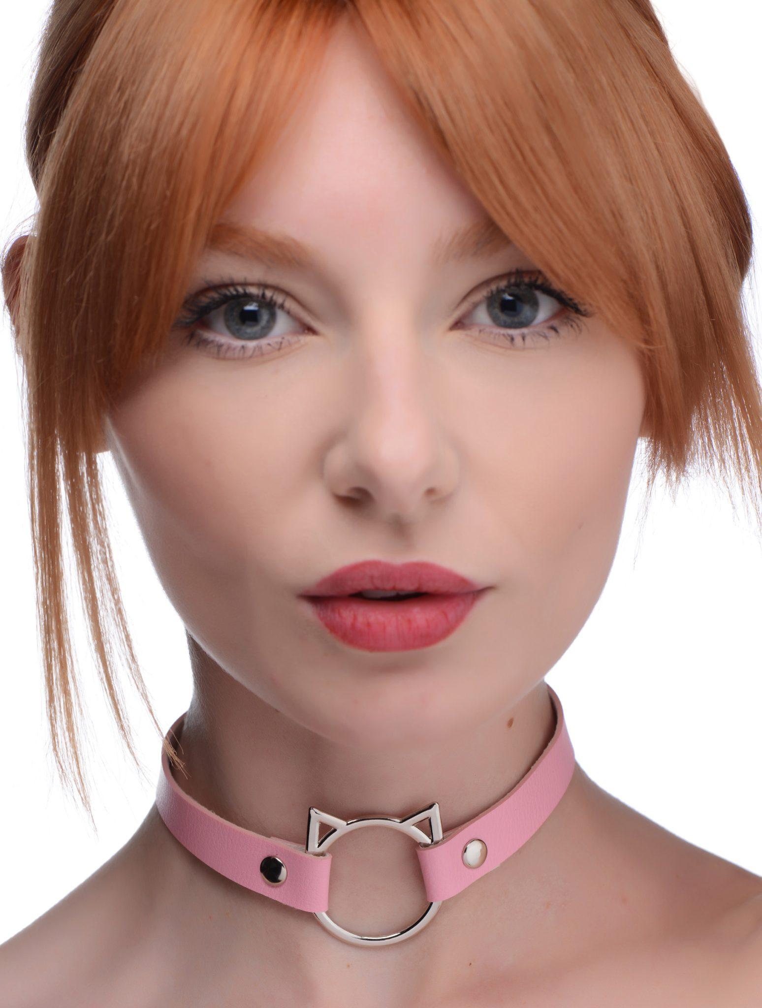 Kinky Kitty Ring Slim Choker – Pink