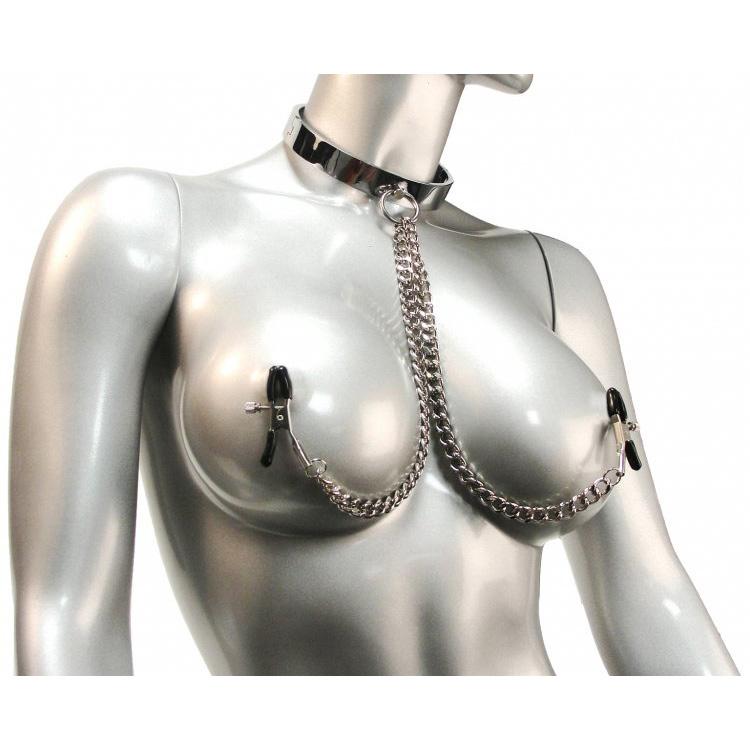 Chrome Slave Collar with Nipple Clamps – SmallMedium