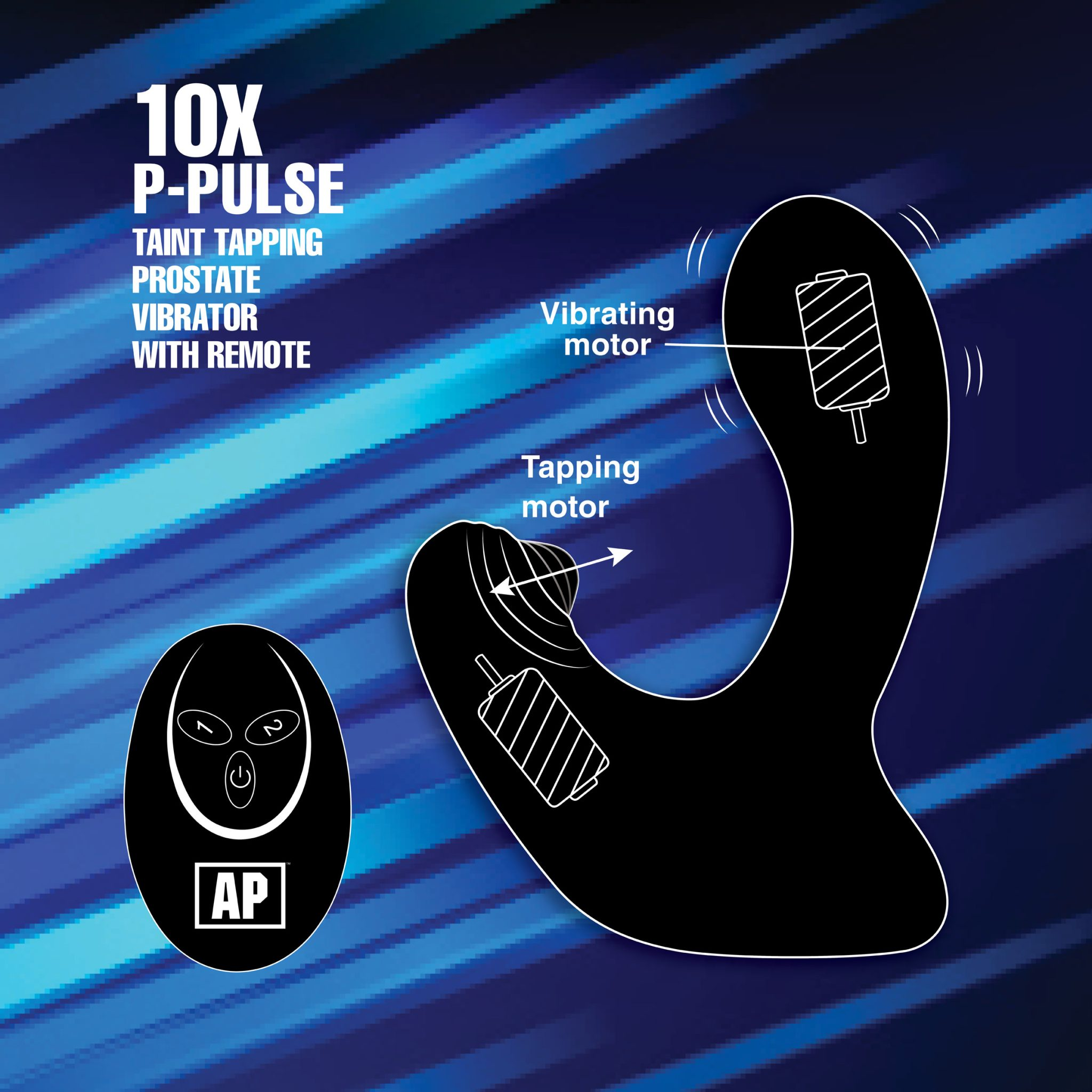 10X P-Pulse Taint Tapping Silicone Prostate Stimulator with Remote