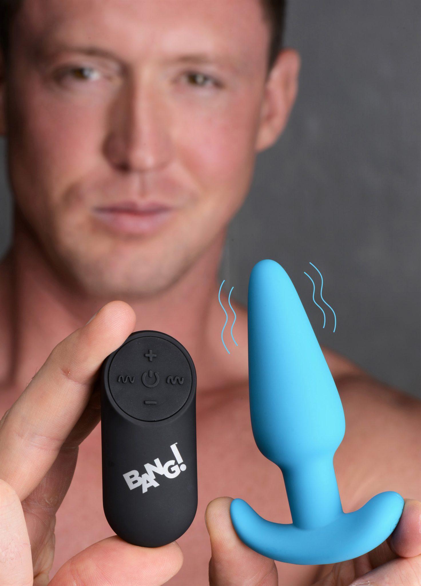 Remote Control 21X Vibrating Silicone Butt Plug – Blue