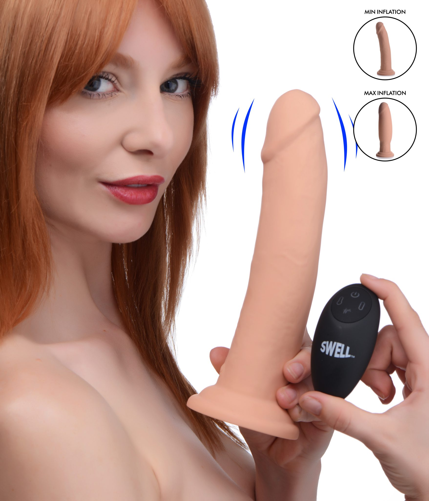 7X Inflatable and Vibrating Remote Control Silicone Dildo – 8.5 Inch