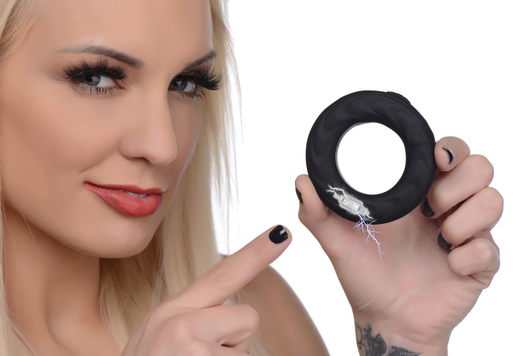 E-Stim Pro Silicone Vibrating Cock Ring with Remote Control