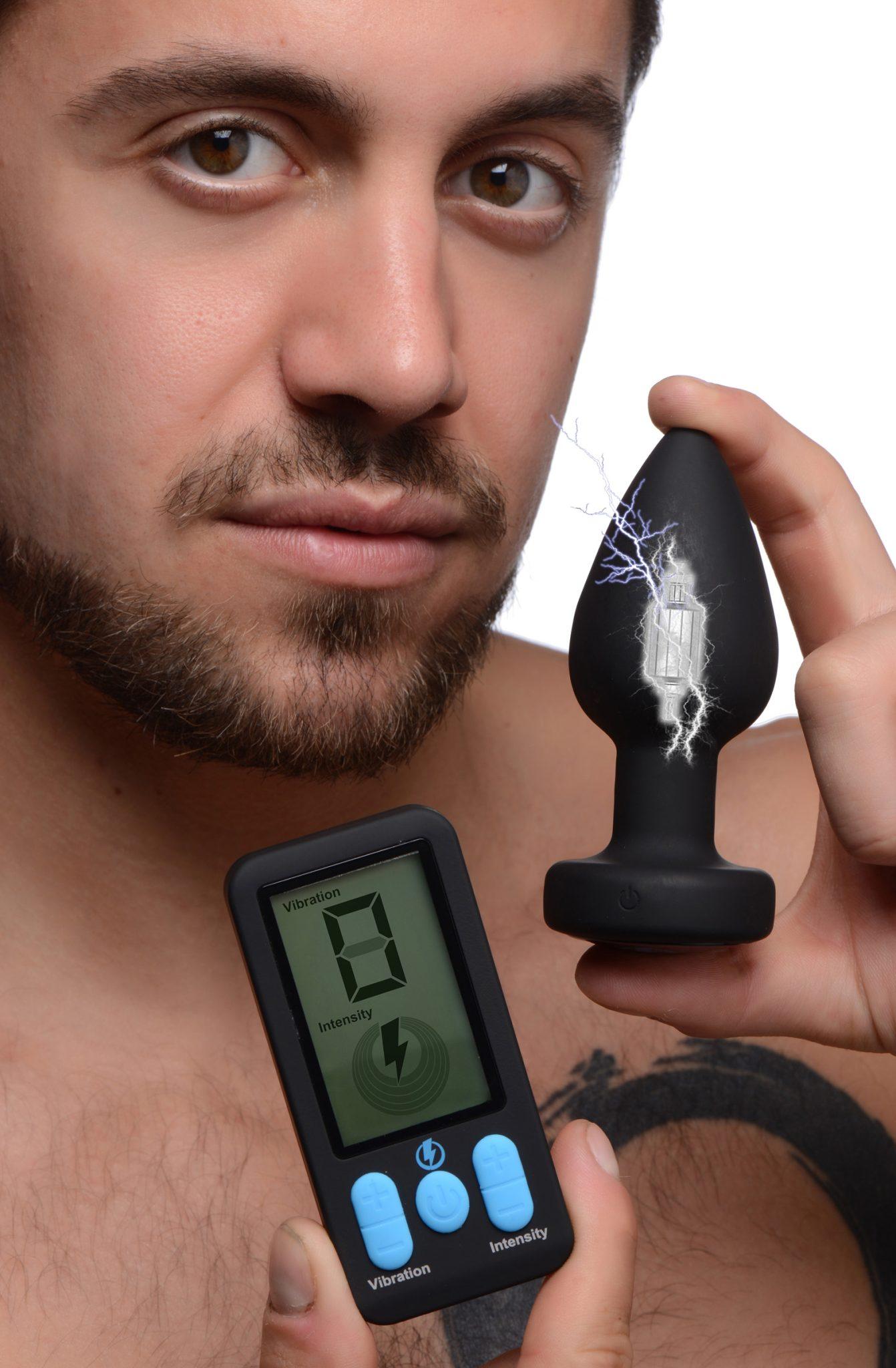 E-Stim Pro Silicone Vibrating Anal Plug with Remote Control