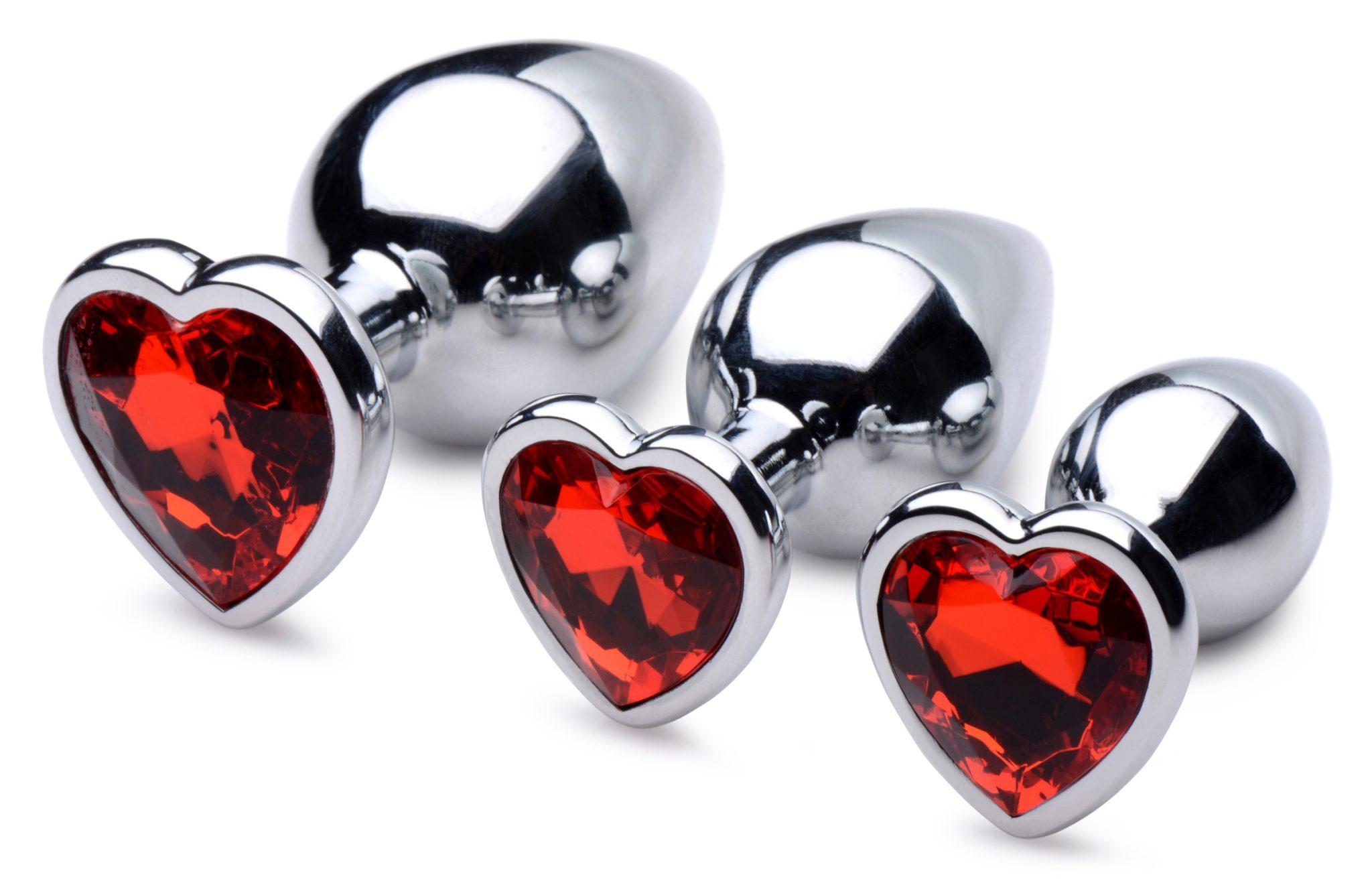 Red Heart Gem Anal Plug Set