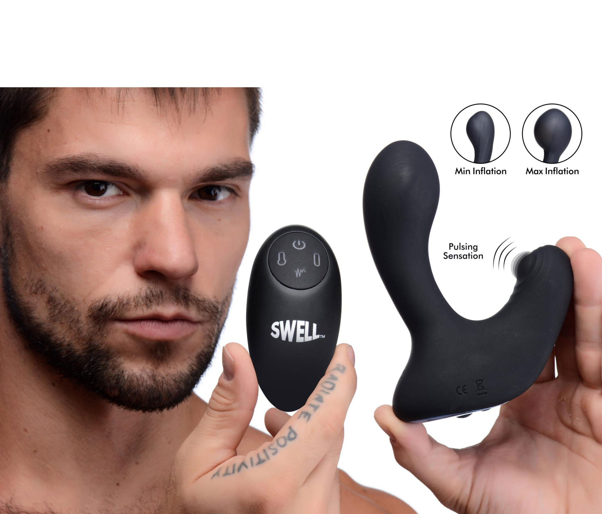 10X Inflatable and Tapping Silicone Prostate Vibrator