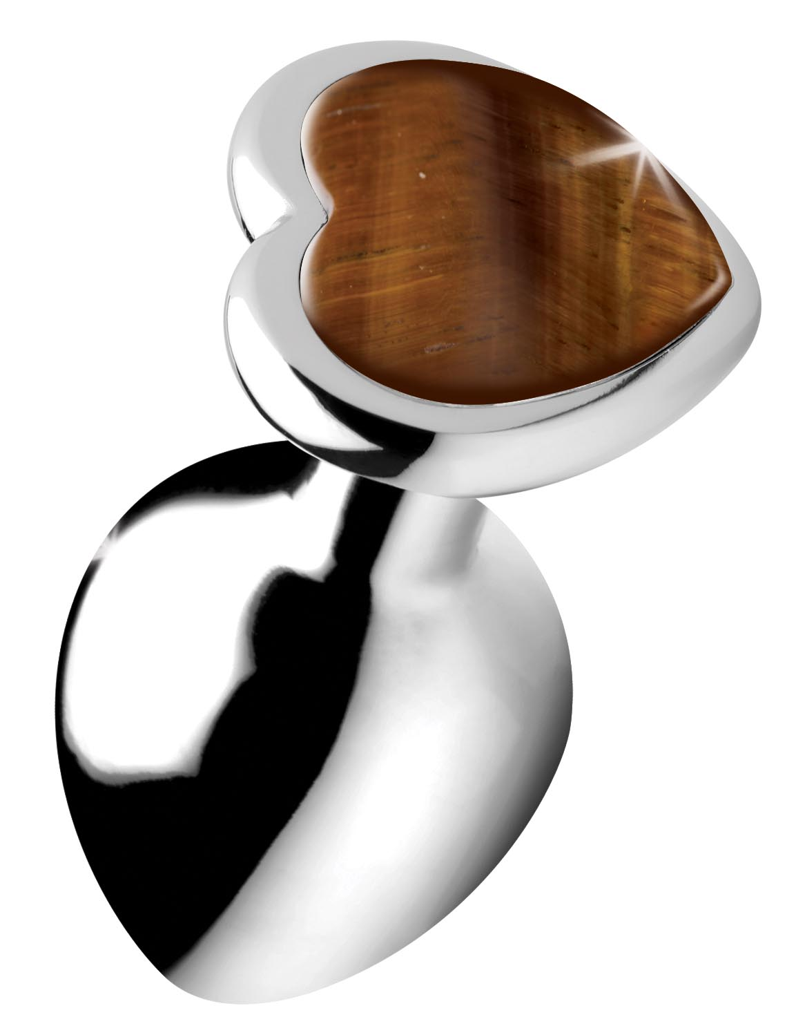Authentic Tigers Eye Gemstone Heart Anal Plug – Medium