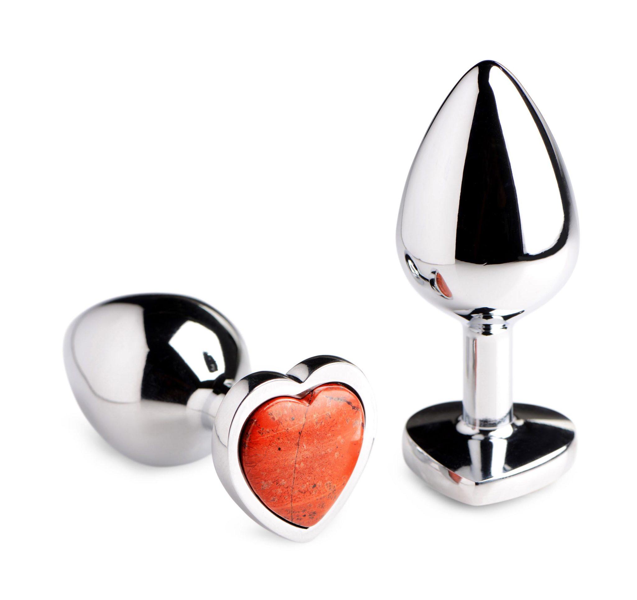 Authentic Red Jasper Gemstone Heart Anal Plug – Small