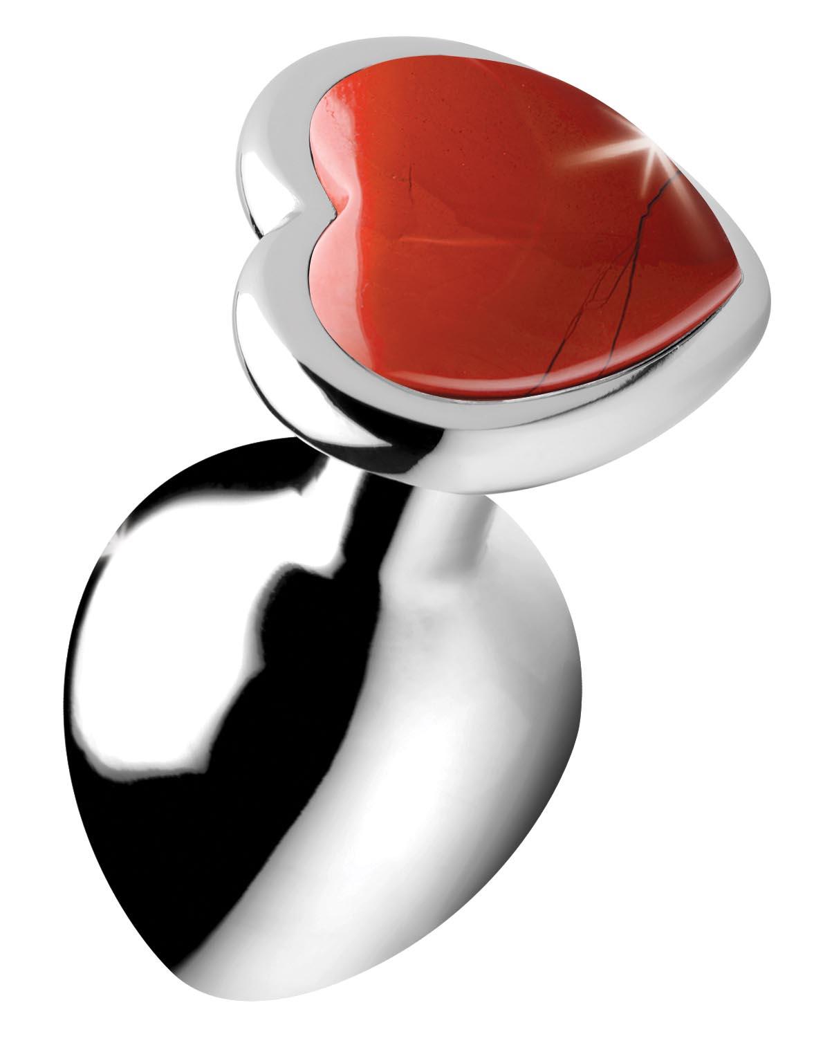 Authentic Red Jasper Gemstone Heart Anal Plug – Medium