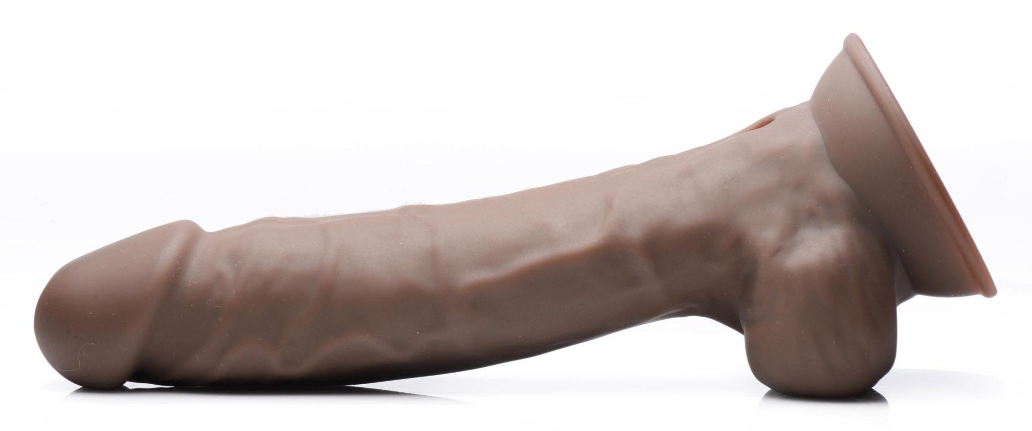 8 Inch Silexpan Hypoallergenic Silicone Vibrating Dildo – Dark