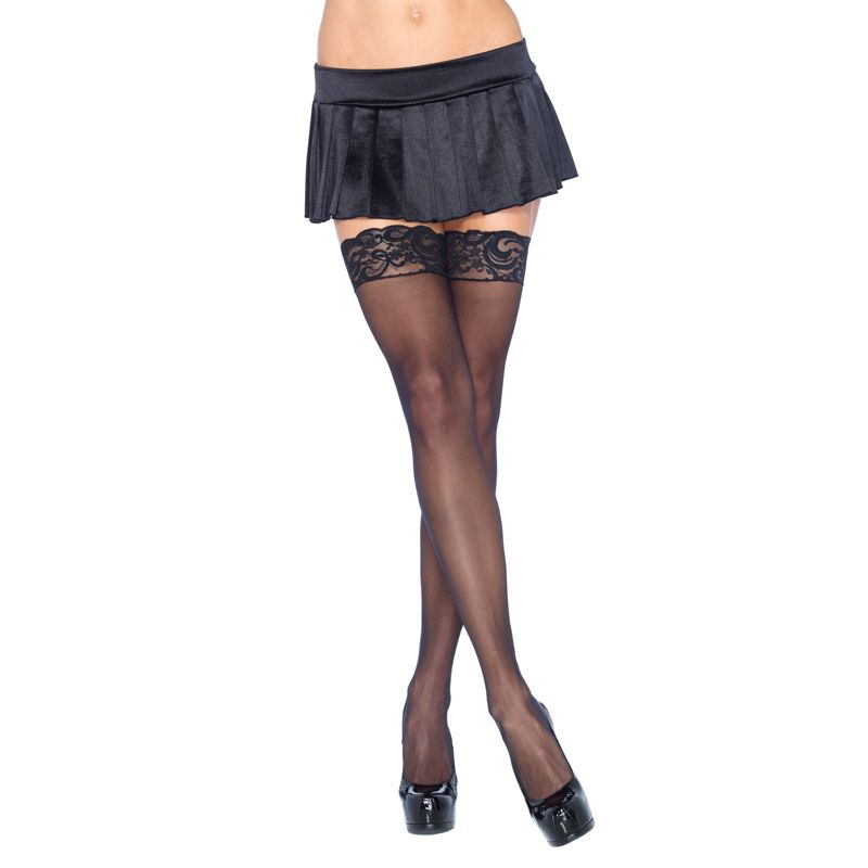 Thin and sheer thigh tights with lace top for size 36 to 42 Leg Avenue