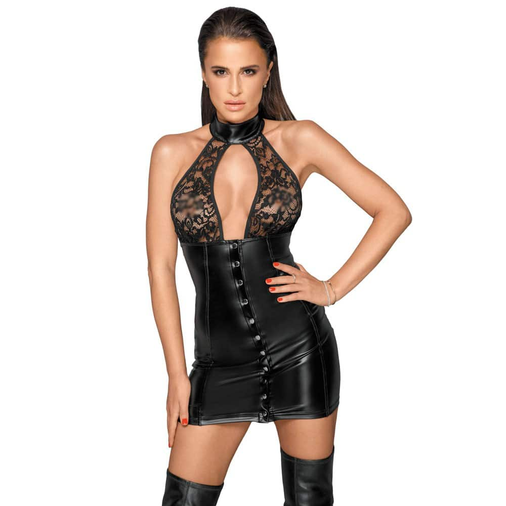 Noir Lace and Wet Look Halter Neck Dress