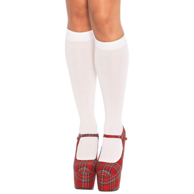 White knee socks for women size 36 to 42 Leg Avenue