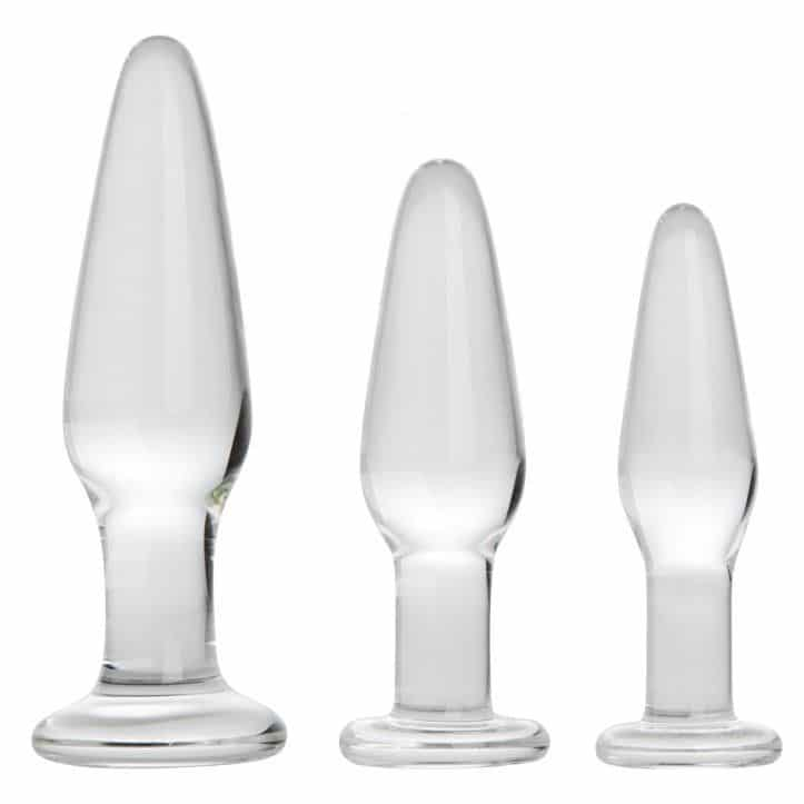 3-piece glass butt plug set