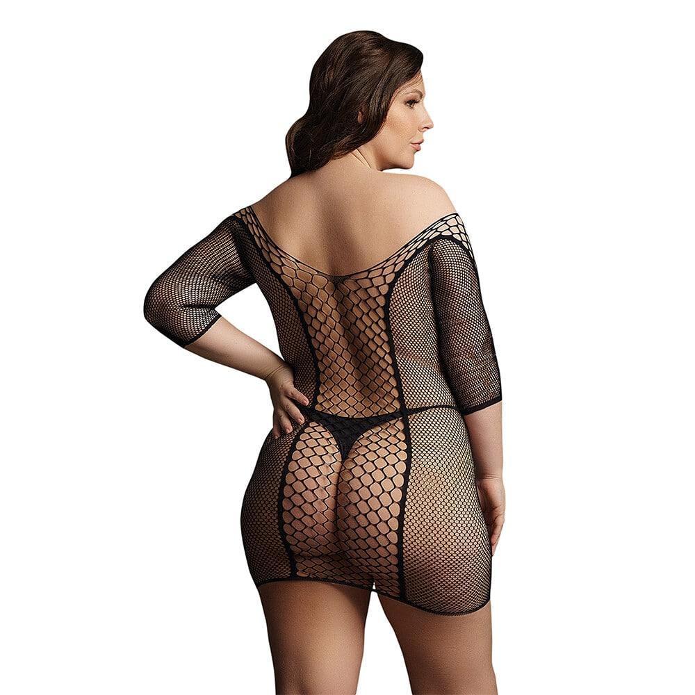 Le Desir Black Duo Net Sleeved Mini Dress UK 14 to 20