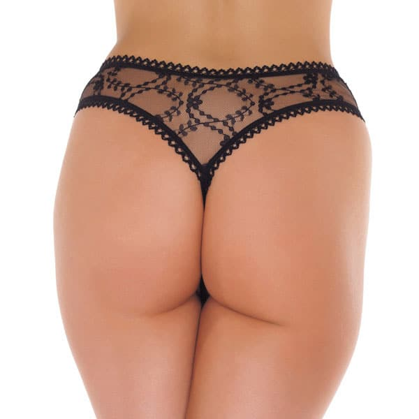 Semi-transparent thong with a crotch opening – black
