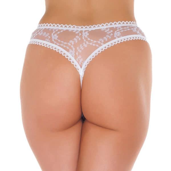 Semi-transparent crothless thong – white