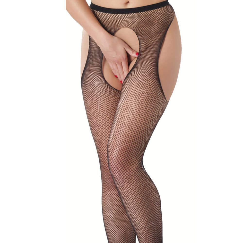 Mesh tights with a crotch opening